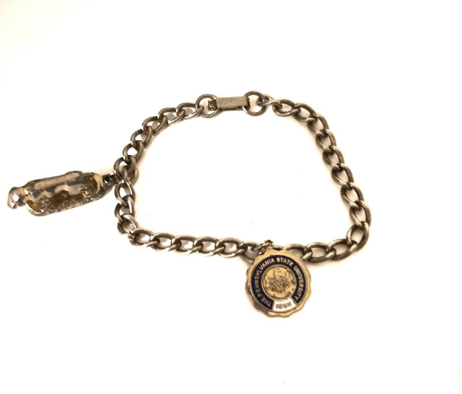 Vintage Bracelet Chain Pennsylvania State University Charm & Gold Lion Pendant