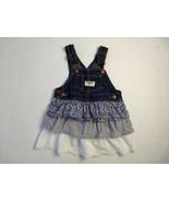 Oshkosh Tiered Dress 12 M Eyelet Floral Ruffle Jumper Vestbak Denim Overall - $19.79