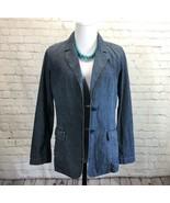 J Jill Blue Chambray Blazer Small Lightweight Button Jacket Unlined Tail... - $26.07