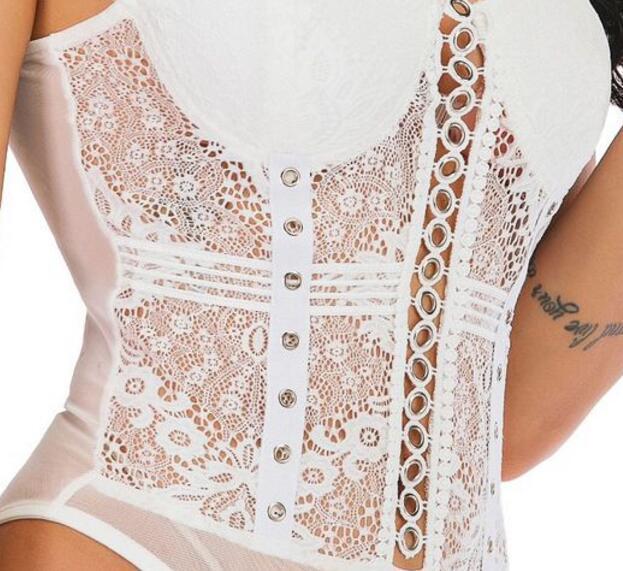 Lace mesh yarn stitching strap sexy slim body eyelets jumpsuit