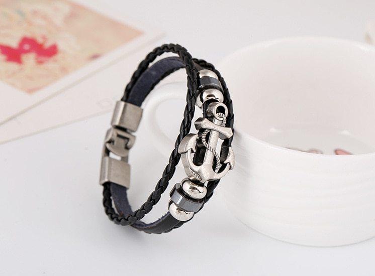 Or braided cowhide bracelet cross border explosion european and american buckle leather bracelet