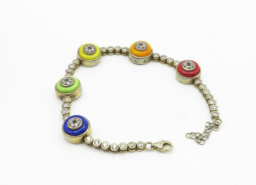 925 Sterling Silver - Vintage Topaz & Sapphire Accent Chain Bracelet - B6306 image 3