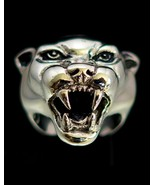 Detailed Sterling silver Animal ring Panther head high polished and anti... - $130.00