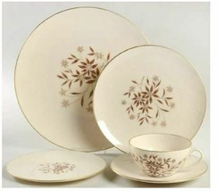 Lenox Starlight China X-302 5 Piece Place Setting Gold Grime - $28.04
