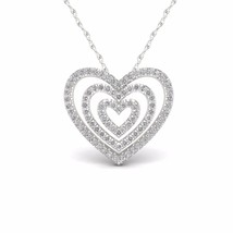 IGI Certified S925 Sterling Silver 0.25ct TDW Diamond Concentric Hearts ... - $237.59