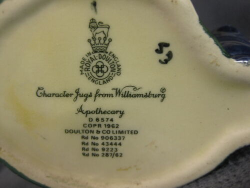 "Apothecary D6574 Royal Doulton Toby Jug Character Williamsburg Small 4"" 10cm  image 5"