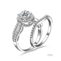 1 ct Round Cut Halo Bridge Accent 925 Silver Cubic Zirconia Engagement Ring Set - $54.48