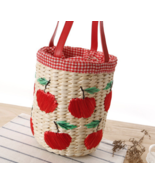 Summer Beach Picnic Apple Straw Bag - $27.99