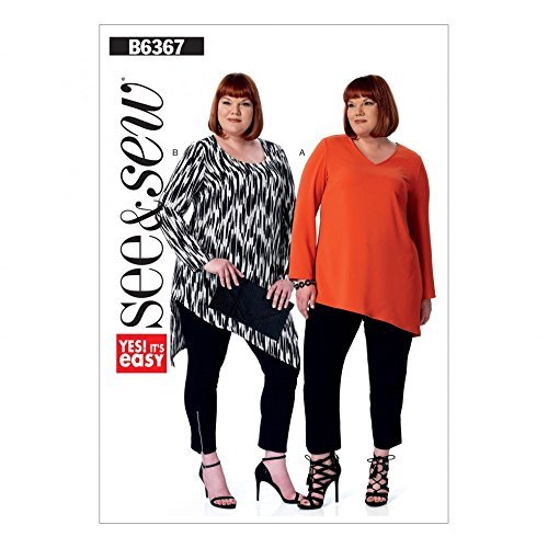 Butterick See & Sew Ladies Plus Size Easy Sewing Pattern 6367 Scoopneck & V Neck - $10.02