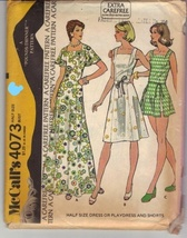 McCall's 4073; ©1974; Half Size Dress or Playdress and Shorts; cut Size ... - $3.00