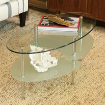Coffee Table Oval Beveled Glass Frosted Living Room Chrome-Finished Legs... - €101,09 EUR