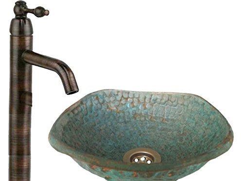 Rustic Bowl Sink : Square Rustic Verdigris Copper Vessel Bathroom Lavatory Sink Bowl ...