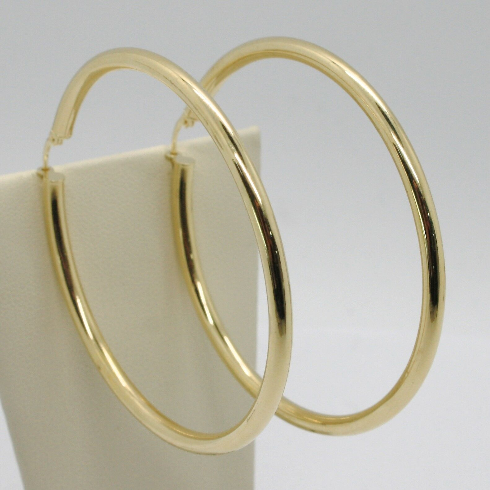 18K YELLOW GOLD ROUND CIRCLE EARRINGS DIAMETER 60 MM, WIDTH 3 MM, MADE IN ITALY