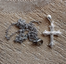 pretty sterling silver and diamond cross pendant with chain - $49.95