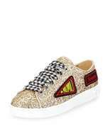 Miu Miu Glitter Sneakers with Patches, Gold Size 41 MSRP: $650.00 - $336.59