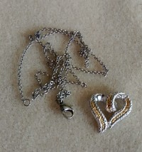 elegant yellow and white diamond accent heart pendant an chain - $69.95