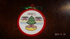 Finished Cross Stitch Christmas ornament of Christmas tree NOEL - $18.83