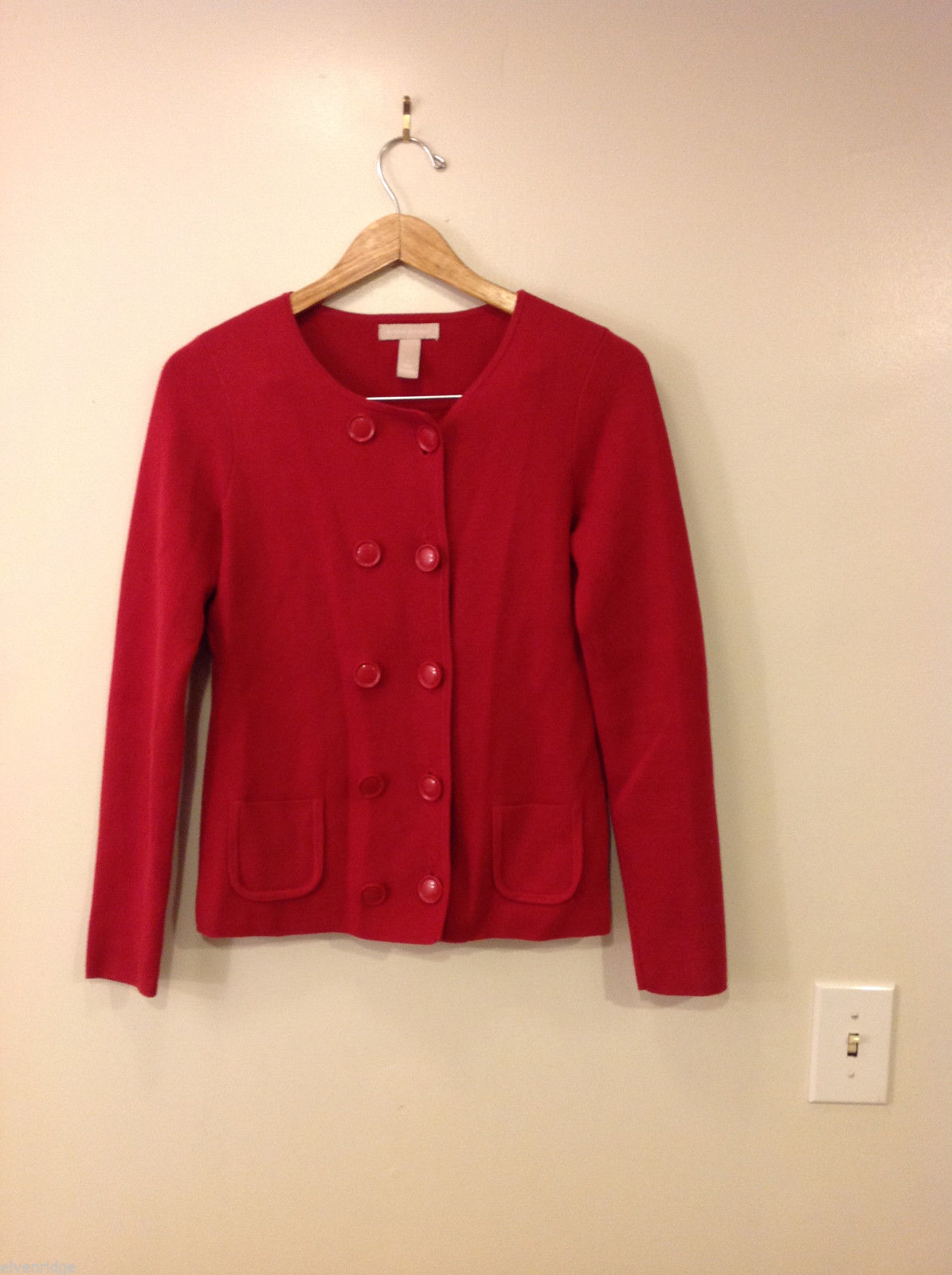 Banana Republic Size S Womens Double Breasted Red Cardigan Cotton Cashmere Blend