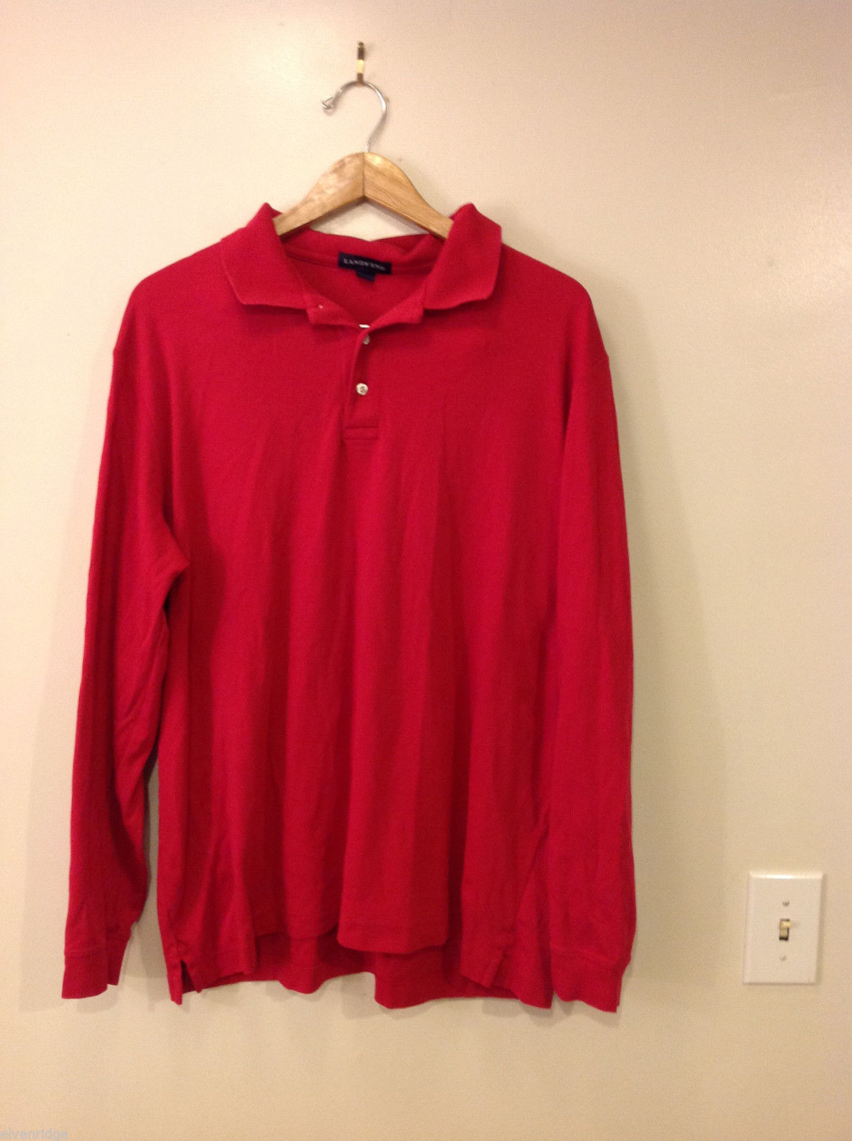 Lands' End Mens' Large XL True Red 100% Baumwolle Cotton Long-Sleeved Polo Shirt