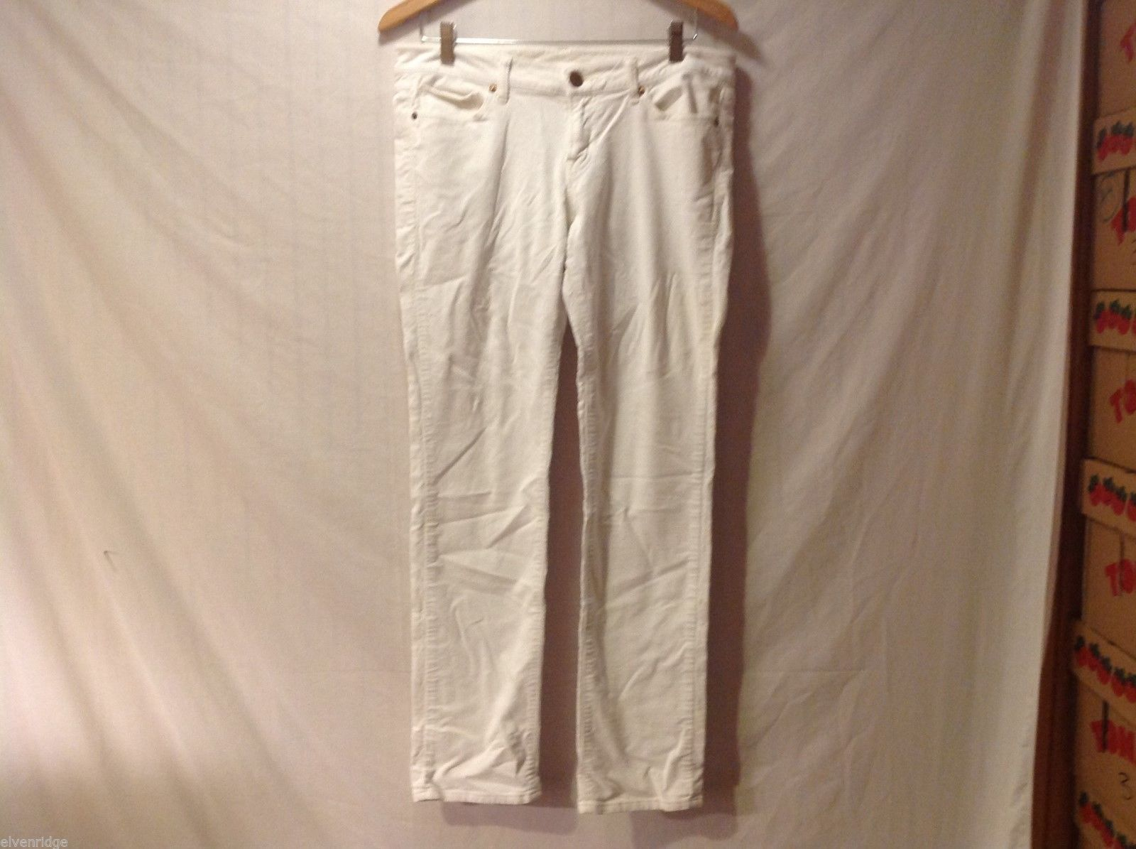 Uniqlo Womens White Courduroy Pants, Size 10