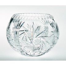 Pinwheel Crystal Rose Bowl 6 Inch With Free Market III Blue Candle Sample - $39.95