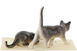 Hagen Renaker Miniature Cats Gray Walking and Crouching Figurine Set of 2 image 5