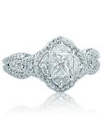 Art Deco 1.50 Ct Princess Cut Mosaic Diamond Engagement Halo Ring 18k Wh... - $2,665.32