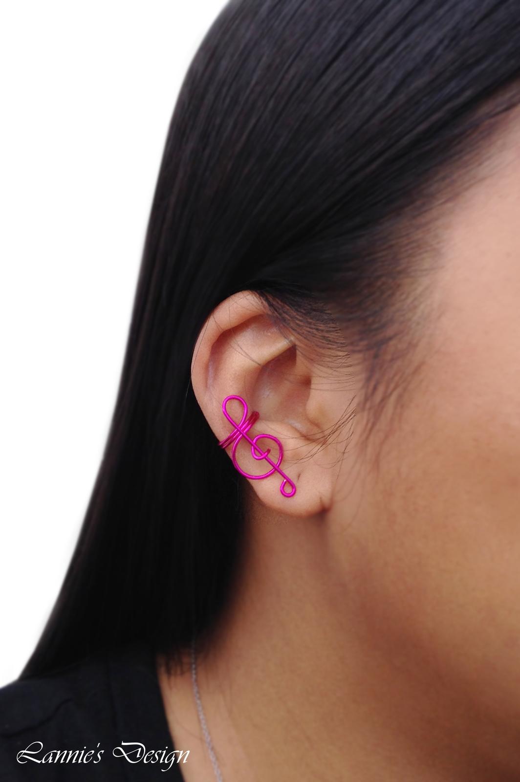 Hot Pink Treble Clef Ear Cuff, No Piercing Cartilage Earrings