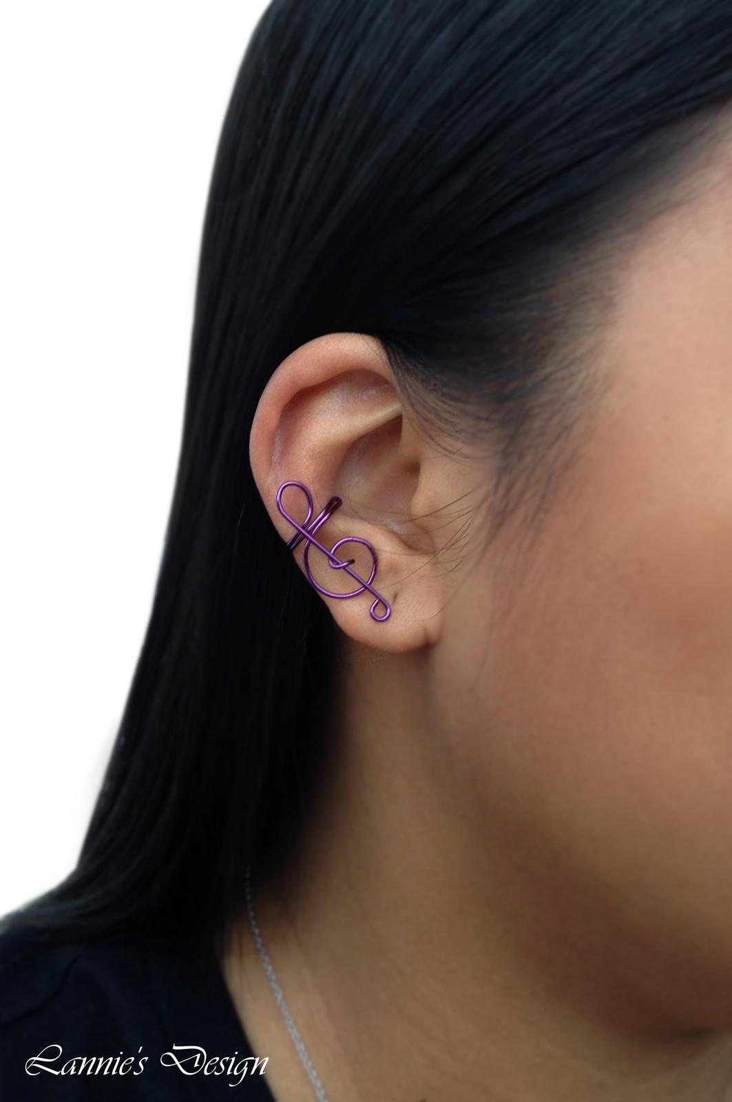 Violet Treble Clef Ear Cuff, No Piercing Cartilage Earrings