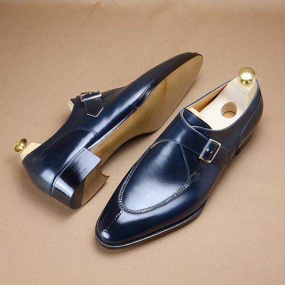 Handmade Men's Blue Monk Strap Formal Dress Shoes