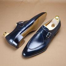 Handmade Men's Blue Monk Strap Formal Dress Shoes image 1