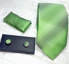 Green Silk Tie + cufflinks coordinated + Clutch Italy Business/Wedding - $20.77