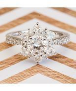 1.75 Ct Diamond Engagement Snowflake Cluster Wedding Ring 14K Solid Whit... - $407.20 CAD