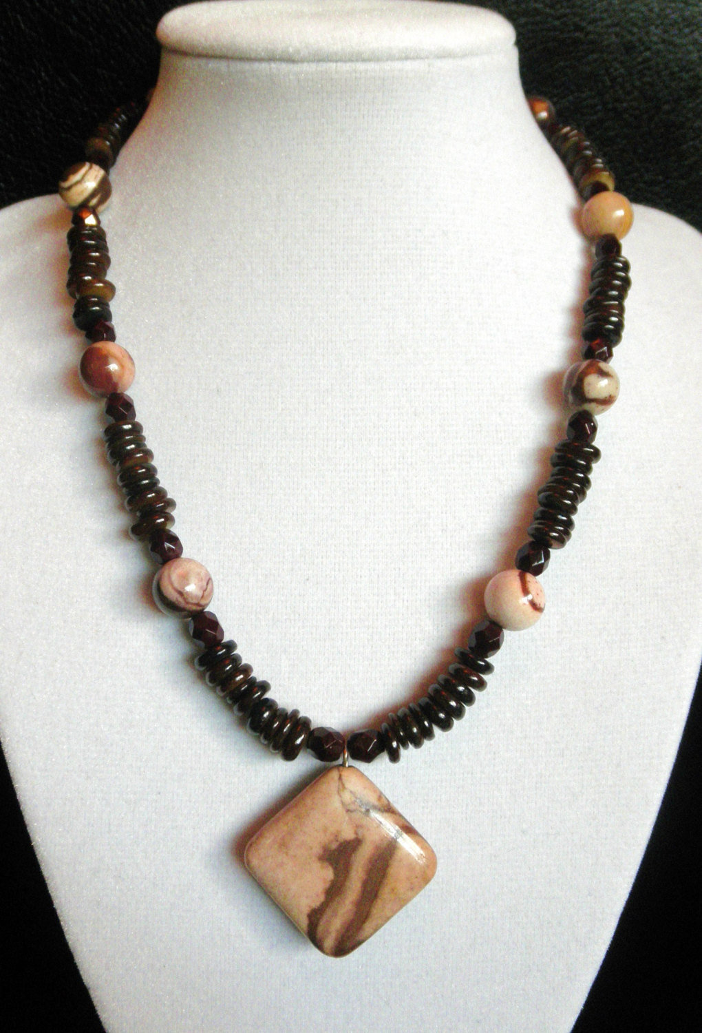 "Primary image for 16 1/2"" genuine brown jasper, shell and artglass bead necklace with pendant"