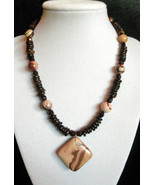 "16 1/2"" genuine brown jasper, shell and artglass bead necklace with pendant - $78.00"