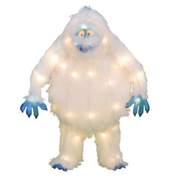New 18 in pre lit soft tinsel 3d bumble snowman from for Abominable snowman yard decoration