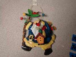 Metal Tin painted Santa Christmas Ornament KURT S. ADLER - $8.91