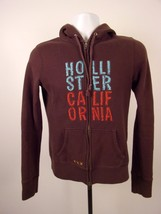 Hollister California Hooded Jacket Sweater Size L Large Brown Cotton Blend - $23.74