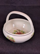 """FORMALITIES""  BY BAUM BROS.  Small BOWL WITH HANDLE Fruit Print - PRISTINE - $9.74"