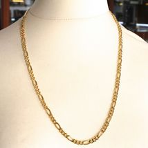 18K YELLOW GOLD CHAIN BIG 5 MM ROUNDED FIGARO GOURMETTE ALTERNATE 3+1, 24 INCHES image 4