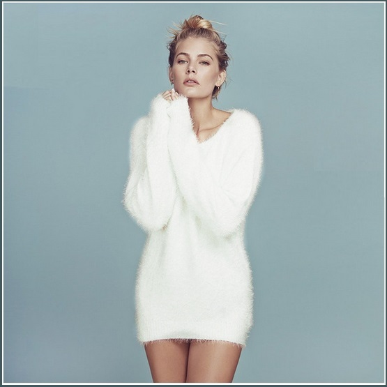 Fuzzy Long Sleeve Soft White Mohair V Neck Extra Long Woolen Pull Over Sweater