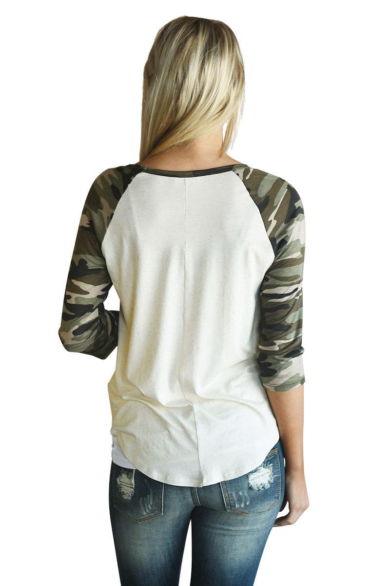 Camouflage Raglan Sleeve Top