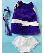 1970 IDEAL VELVET PURPLE DRESS w/HAIRBOW & PANTIES Crisp Factory Oversto... - $21.78