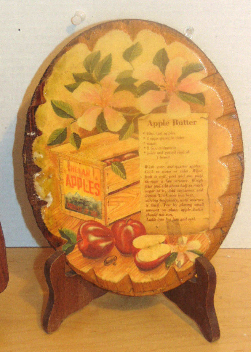 Vintage Plaques Kitchen Oval Apple Butter Recipe Signed & Bread Shaped 3-D Wood