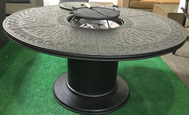 Propane fire pit table 7 pc Nassau patio dining set outdoor aluminum grills.  image 7