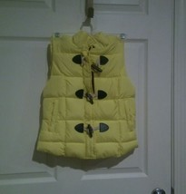 NWT ARIZONA JEANS Woman XS Toggle Puffer Vest Coat Yellow Sun Brown Faux... - $12.00