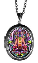 "Chakra Hamsa Huge 2 1/2"" Locket Pendant Antique Silver - $24.95"