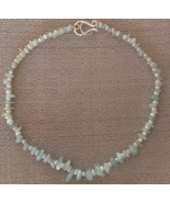 Necklace Aquamarine Nuggets and Pearl Beaded Womens/Girls/Bridesmaids/Gift - $19.99