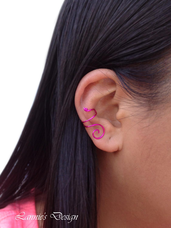Fuchsia Pink Wire Ear Cuff, No Piercing Simple Cartilage Earrings