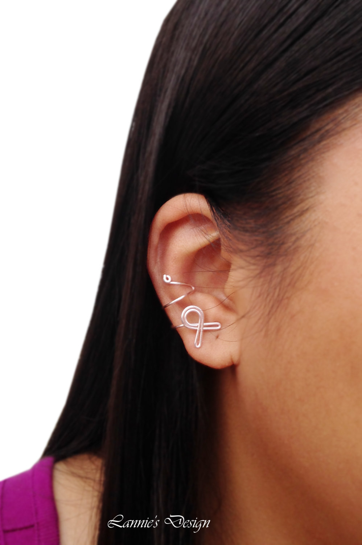 Breast Cancer Awareness Ribbon Light Pink Ear Cuff
